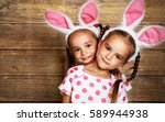 happy easter  cute twins girls... | Shutterstock . vector #589944938
