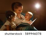 mother reads to children the... | Shutterstock . vector #589946078
