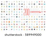 flat big collection set icons... | Shutterstock .eps vector #589949000