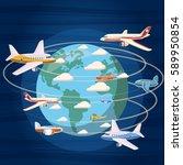 airplanes around the world...   Shutterstock . vector #589950854