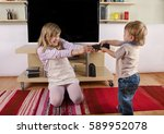 toddler fighting with his... | Shutterstock . vector #589952078