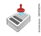 stamp on documents icon. punch... | Shutterstock .eps vector #589958594