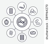 addiction icons set. set of 9... | Shutterstock .eps vector #589964270