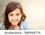 portrait of a cute teenage girl | Shutterstock . vector #589964774