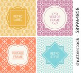 set of vintage frames in gold ... | Shutterstock .eps vector #589964858