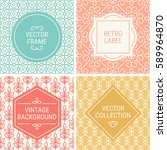 set of vintage frames in cyan ... | Shutterstock .eps vector #589964870