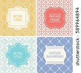 set of vintage frames in yellow ...   Shutterstock .eps vector #589964894