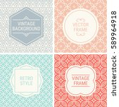 set of vintage frames in grey ... | Shutterstock .eps vector #589964918