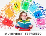 little girl with school... | Shutterstock . vector #589965890