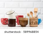 kitchenware on the kitchen table | Shutterstock . vector #589968854