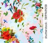 flowers. poppy  wild roses ... | Shutterstock .eps vector #589969058