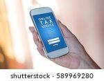smartphone screen displaying an ... | Shutterstock . vector #589969280