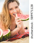 beautiful girl with watermelon... | Shutterstock . vector #589971128