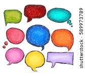 set of bubbles speech  hand... | Shutterstock .eps vector #589973789