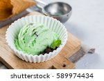mint and chocolate ice cream in ... | Shutterstock . vector #589974434