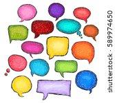 set of bubbles speech  hand...   Shutterstock .eps vector #589974650