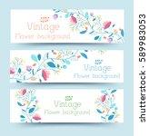 retro flower banners concept.... | Shutterstock .eps vector #589983053