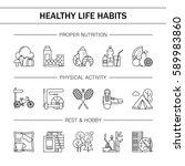 healthy lifestyle habits black... | Shutterstock .eps vector #589983860