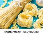 spaghetti and tagliatelle.... | Shutterstock . vector #589989080