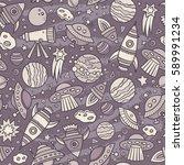 cartoon hand drawn space ... | Shutterstock .eps vector #589991234