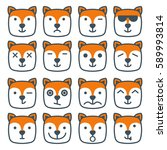 fox emotional emoji square flat ... | Shutterstock . vector #589993814