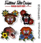 set wild cats traditional... | Shutterstock .eps vector #589994018