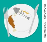 dirty waste food on plate with... | Shutterstock .eps vector #589999793