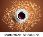 morning coffee break doodle... | Shutterstock .eps vector #590000870
