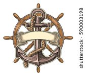 anchor and ship wheel with... | Shutterstock .eps vector #590003198
