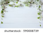 background with flowering... | Shutterstock . vector #590008739