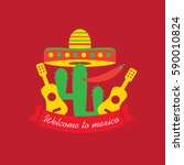 mexican food logo. mexican fast ... | Shutterstock .eps vector #590010824