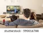 family watching tv | Shutterstock . vector #590016788