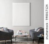 mock up poster in living room ... | Shutterstock . vector #590017124