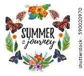 watercolor summer frame for... | Shutterstock . vector #590020970