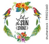 watercolor summer frame for... | Shutterstock . vector #590021660