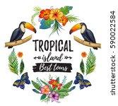 watercolor summer frame for...   Shutterstock . vector #590022584