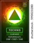 techno music poster. electronic ... | Shutterstock .eps vector #590023280