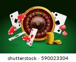 casino roulette with chips  red ... | Shutterstock .eps vector #590023304