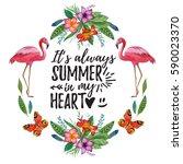 watercolor summer frame for... | Shutterstock . vector #590023370