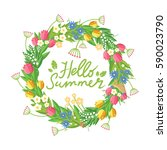 flower wreath with hand drawn... | Shutterstock .eps vector #590023790