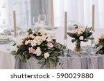beautiful tenderless bouquet on ... | Shutterstock . vector #590029880