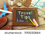 travel tips inscription on the... | Shutterstock . vector #590030864