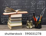 education concept   books on... | Shutterstock . vector #590031278