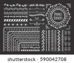 set of floral hand drawn border | Shutterstock . vector #590042708