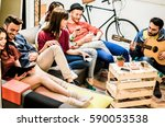 group of trendy friends having... | Shutterstock . vector #590053538