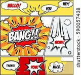 comic speech bubbles and comic... | Shutterstock .eps vector #590057438