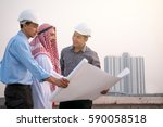 arab businessman and engineers... | Shutterstock . vector #590058518