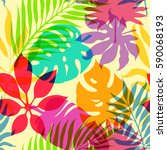 exotic decorative colorful palm ... | Shutterstock .eps vector #590068193
