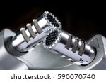 shiny chrome x y stereo... | Shutterstock . vector #590070740