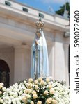 statue of our lady fatima being ... | Shutterstock . vector #590072600